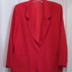 Jackets & Blazers - Vintage Red Polyester Blazer size 12